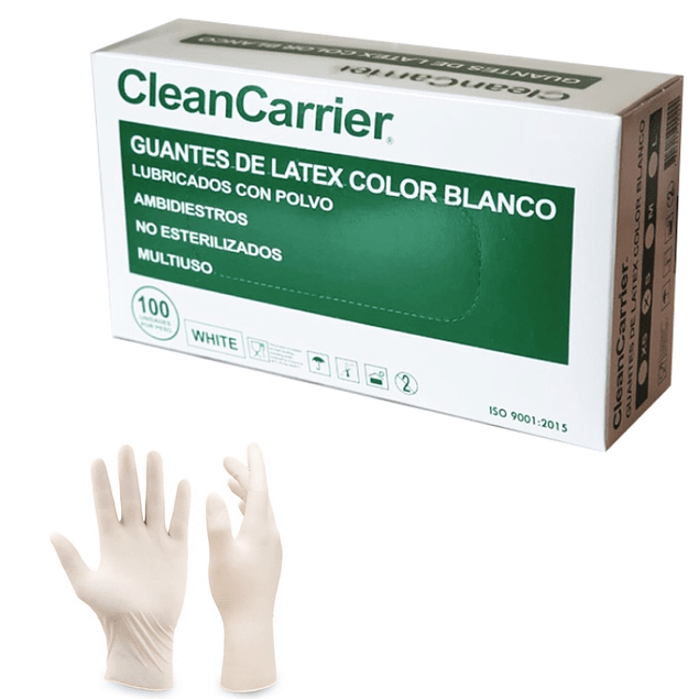 Guantes Látex Clean Carrier Talla L, Caja 100 unidades
